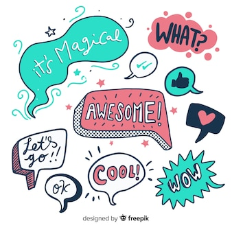 Speech bubbles collection hand-drawn