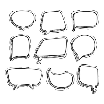 Speech bubbles collection with doodle style