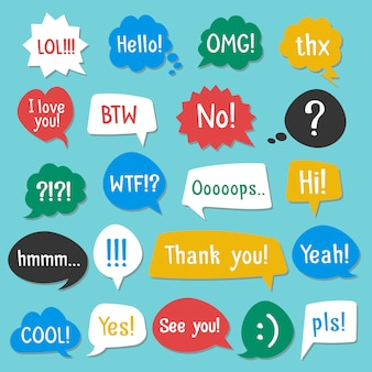 Speech bubbles color set with shadow. acronyms and abbreviations. vector illustration