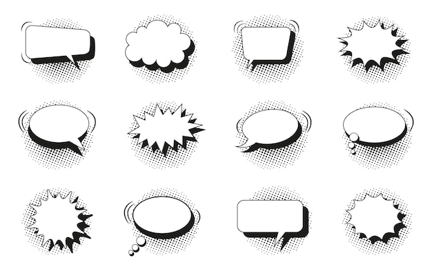Speech bubbles. comic pop art balloons with halftone shadow. black white text boxes. star burst clouds. set of chat bang clouds with dots. funny message shapes. vector illustration.