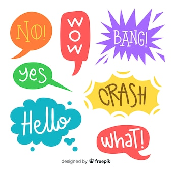 Speech bubbles design and colors variety