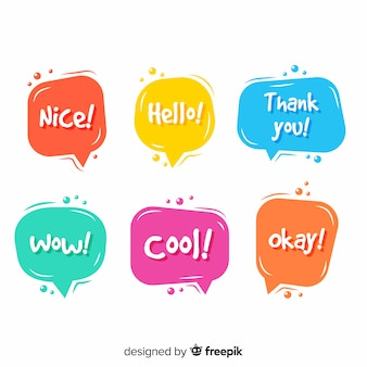 Speech bubbles in different colors with expressions