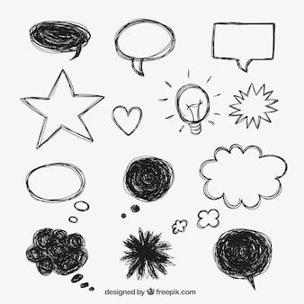 Speech bubbles in doodle style