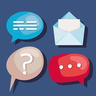 Speech bubbles and envelope