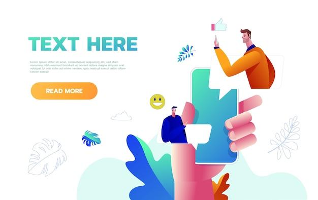 コメントと返信の概念の吹き出しソーシャルネットワークでテキストメッセージにモバイルスマートフォンを使用している若者のフラットベクトルイラスト