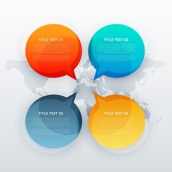 4人がインフォグラフィックテンプレートスタイルでチャットバブルを話す