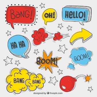 Речь пузыри в эскизной стиле