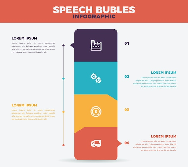 Speech bubbles infographics in flat design
