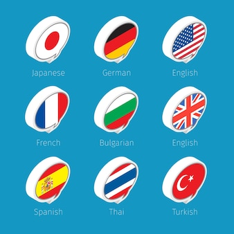 Speech bubbles, languages icons with countries flags.