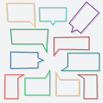Speech bubbles linear in shape rectangle with shadows