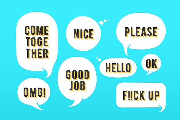 Speech bubbles. set of message, cloud talk