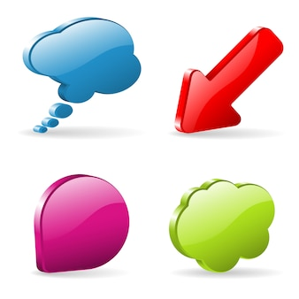 Speech bubbles set and red arrow