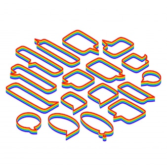 Speech bubbles set of various shapes, rainbow isometric isolated