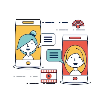 Speech bubbles and smartphone with social media related icons