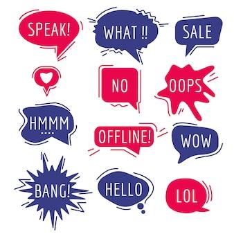 Текст пузырей речи. мышление слова и фразы звук юмор стикер коммуникационные теги говорящее выражение комикс мультфильм пузыри.