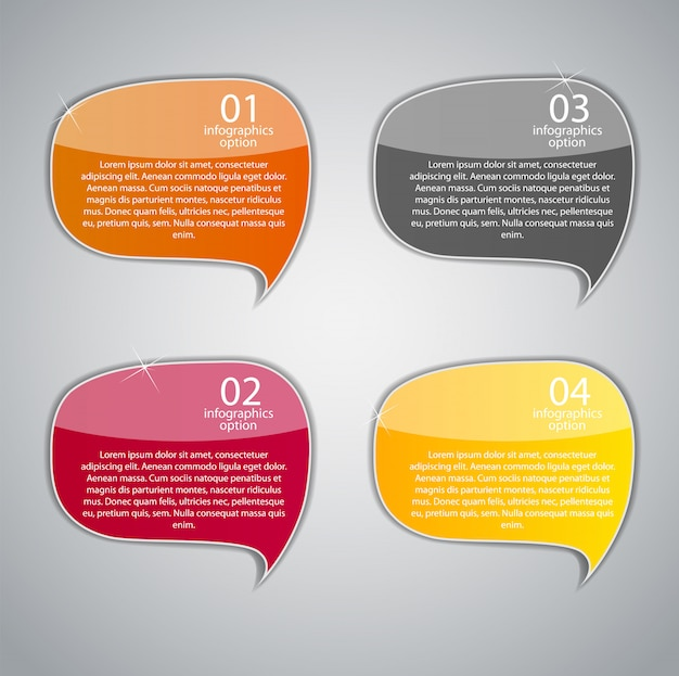 Speech bubbles with four steps