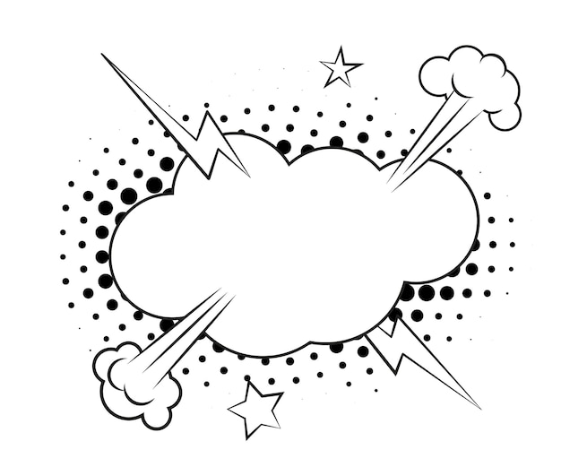 하프톤 그림자가 있는 연설 거품. 벡터 일러스트 레이 션 흰색 배경에 고립입니다.
