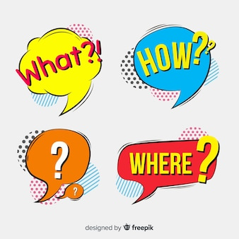 Speech bubbles with questions