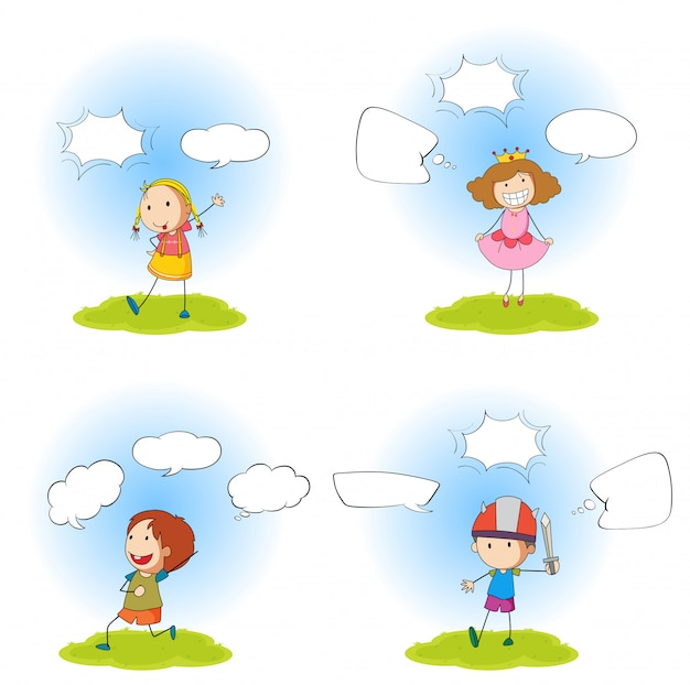 Speech bubbles with simple characters