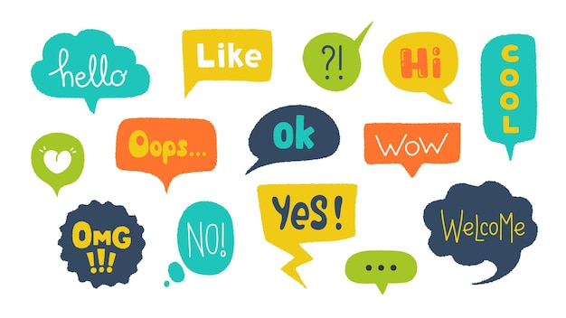 Speech bubbles with text illustration