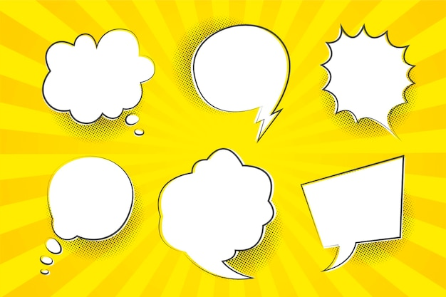Speech bubbles with yellow background