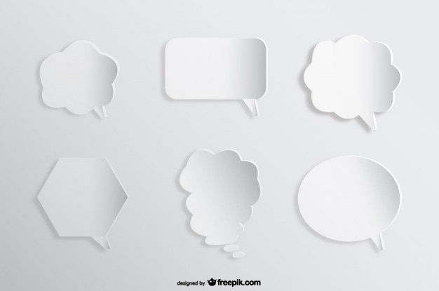 Speech comic bubbles background paper cutout effect