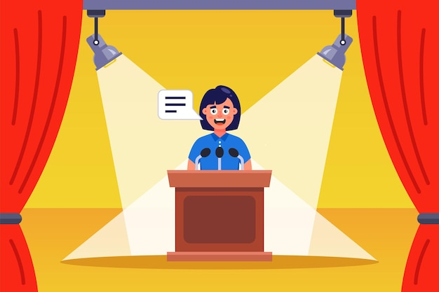 Speech of the girl orator on the stage. flat vector illustration