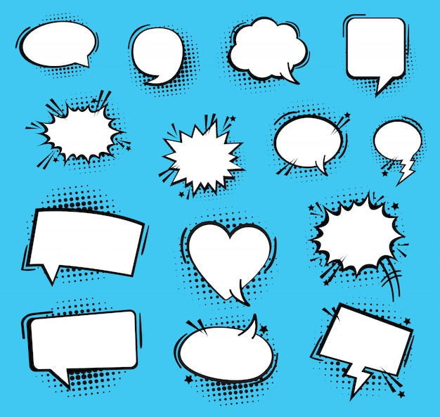 연설 또는 생각 거품. 레트로 빈 만화 연설 거품. 상