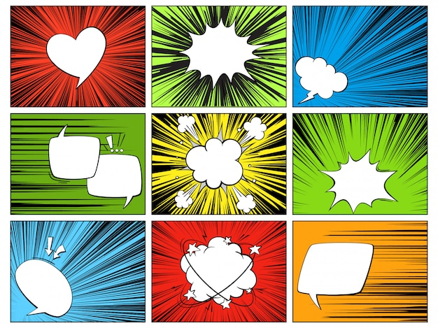 Речевые радиальные элементы. комичные мультипликационные фигуры для диалогов, размышлений и разговоров на разноцветной горизонтальной линии