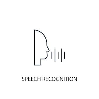 Значок линии концепции распознавания речи. простая иллюстрация элемента. дизайн символа контура концепции распознавания речи. может использоваться для веб- и мобильных ui / ux