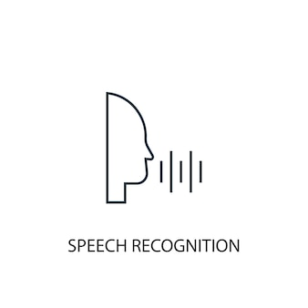 Speech recognition concept line icon. simple element illustration. speech recognition concept outline symbol design. can be used for web and mobile ui/ux