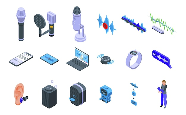 Speech recognition icons set. isometric set of speech recognition icons for web design isolated on white background