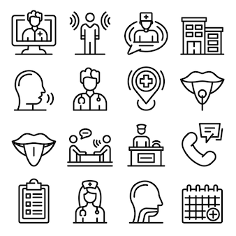 Speech therapist icons set