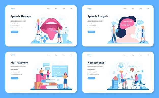 Speech therapist web banner or landing page