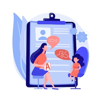言語療法の抽象的な概念のベクトル図です。言語病理学療法、言語の改善、発達の遅れ、話す障害の治療、家庭での舌の運動抽象的な比喩。
