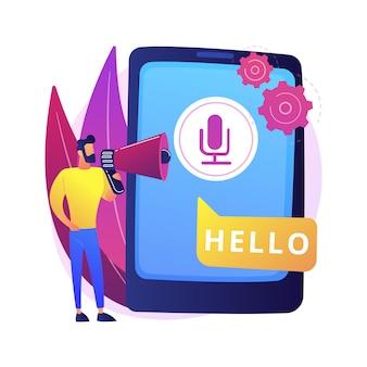 Речь к тексту абстрактной иллюстрации концепции. многоязычный распознаватель речи, преобразование речи в текст, программное обеспечение для преобразования голоса в текст, технология распознавания голоса, перевод.