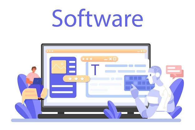 スピーチライターのオンラインサービスまたはプラットフォーム。オンラインソフトウェア。フラットベクトル図