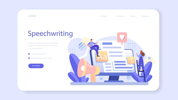 Speechwriting web banner or landing page. professional speaker or journalist write a content for a public announcement. copywriter creating text for media. flat vector illustration