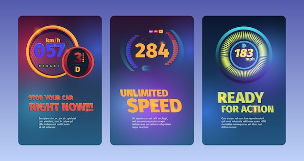Speed banners. racing cars abstract illustrations with speedometers and fuel indicators dashboard