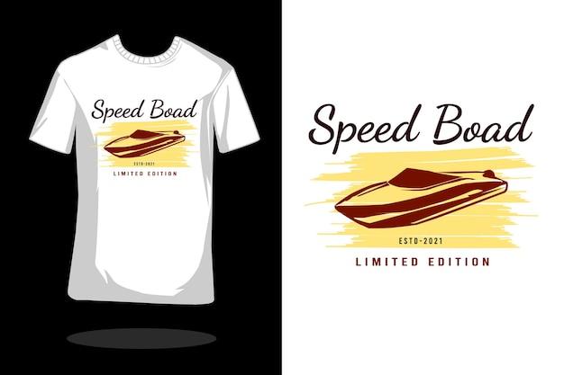 スピードボードヴィンテージシルエットtシャツデザイン Premiumベクター