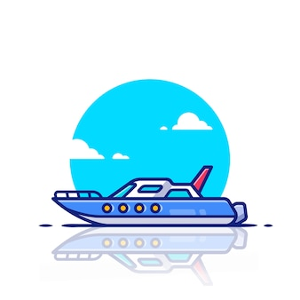 Speed boat   icon illustration. water transportation icon concept   .