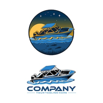 Шаблон логотипа скоростной лодки