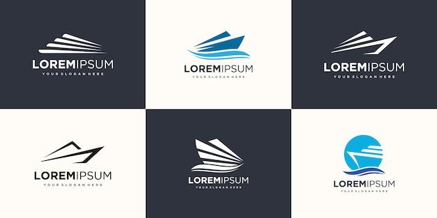 波要素のロゴアイコンが設定されたスピードボート。ボートのロゴデザインテンプレートベクトル。