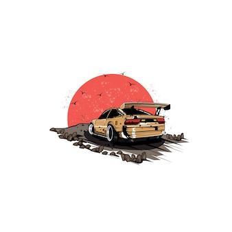 Скоростной автомобиль и концепция иллюстрации луны