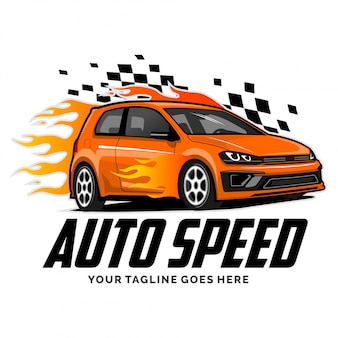 Speed car logo with flame design inspiration