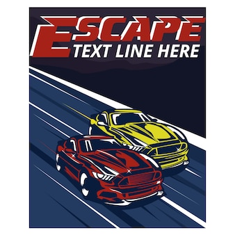 Speed car race escape from home illustration