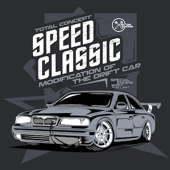 Speed classic car, illustration of a drift sports car