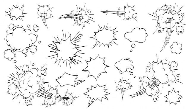 Speed cloud comic. cartoon fast motion clouds  set