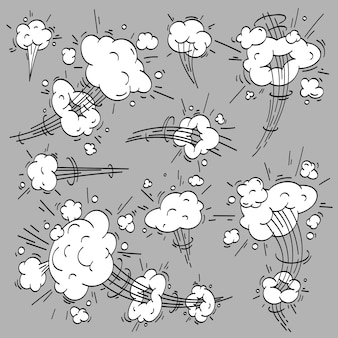 Speed cloud comic. cartoon fast motion clouds, smoke effects and motions trail elements set