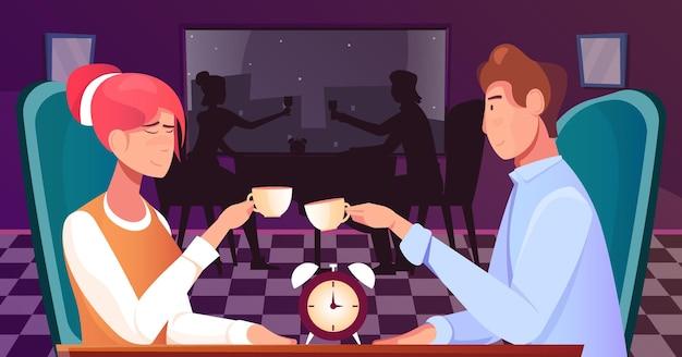Composizione piana di incontri di velocità con scenario di club al coperto e personaggi scarabocchiati di coppia con illustrazione di sveglia